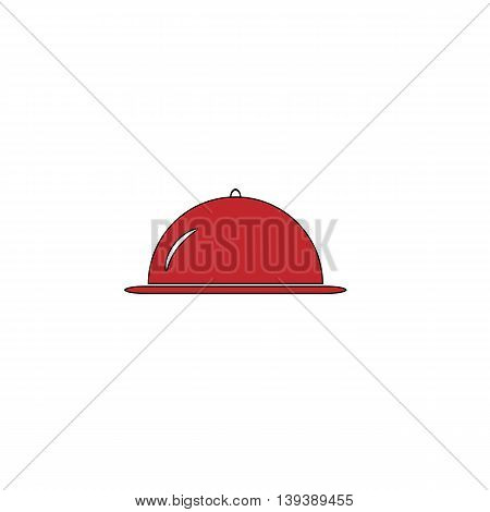 Restaurant cloche. Red flat simple modern illustration icon with stroke. Collection concept vector pictogram for infographic project and logo