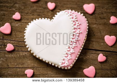 Beautiful Decorated Heart Cookie For Valentines Day