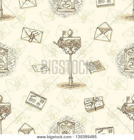 Postal Service. Seamless Vector Pattern with Envelopes, Letters and Mailboxes on a Beige Background