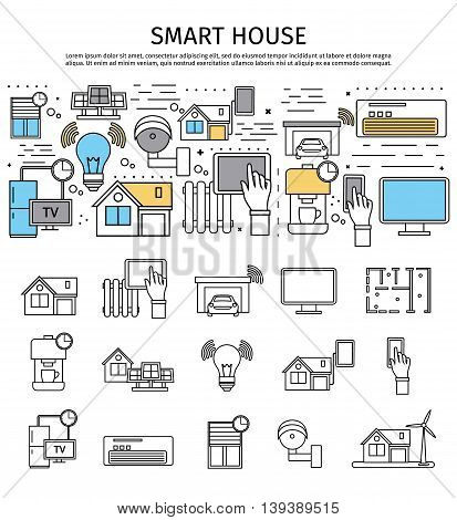 Smart house flat composition and icon set at the bottom in linear style vector illustration