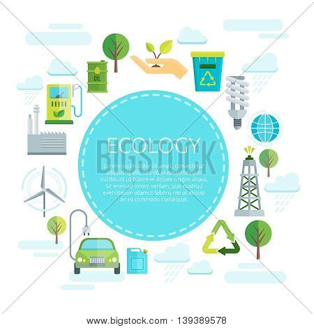 Earth ecology design with inscription on blue circle in center signs of green energy around vector illustration
