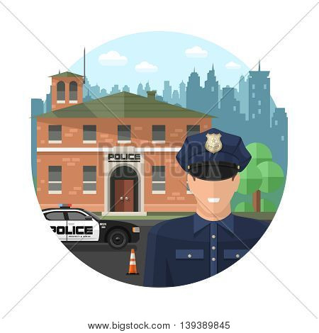 Concept police composition with officer in front of police station on white background in circle vector illustration