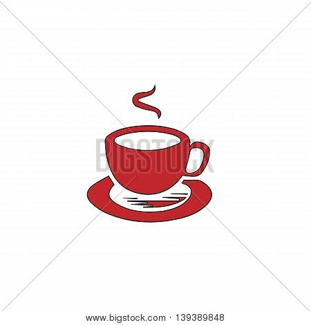 Cup of coffe. Red flat simple modern illustration icon with stroke. Collection concept vector pictogram for infographic project and logo