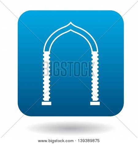 Ornamental arch icon in simple style in blue square. Construction and interiors symbol