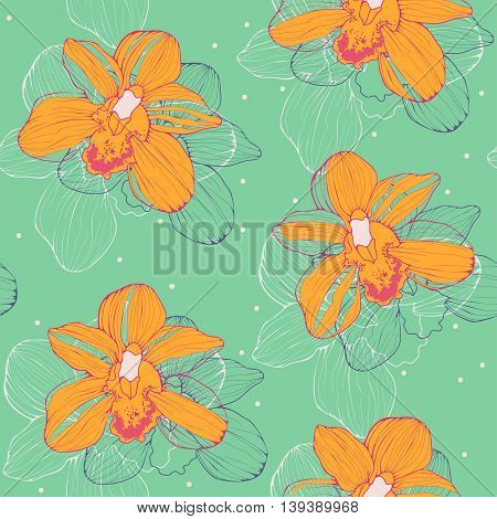 vector seamless pattern with yellow orchids on green background