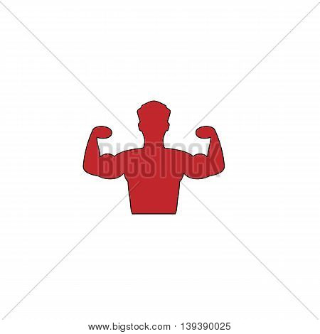 Bodybuilder Fitness Model. Red flat simple modern illustration icon with stroke. Collection concept vector pictogram for infographic project and logo