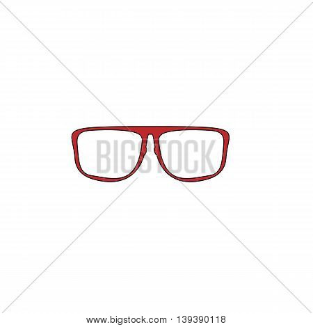 Simple Glasses. Red flat simple modern illustration icon with stroke. Collection concept vector pictogram for infographic project and logo