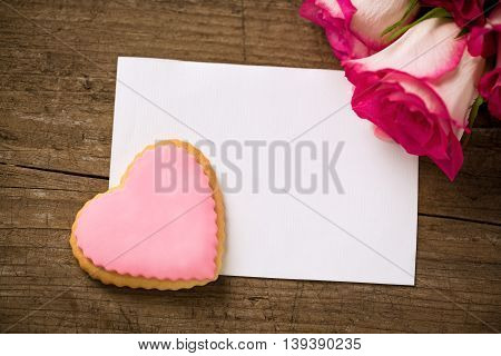 Rose Heart And Empty Postcard With Roses