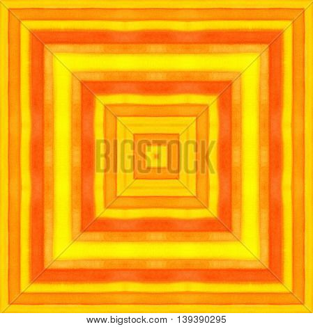 Bright orange background with abstract watercolor striped square pattern