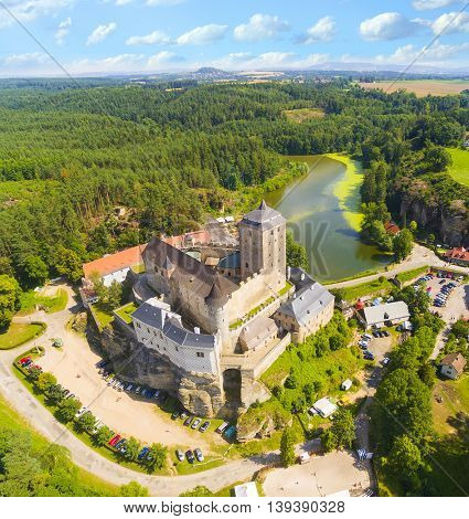 Gothic castle Kost in National Park Cesky Raj (Czech Paradise). Aerial view to medieval monument in Czech Republic. Central Europe.