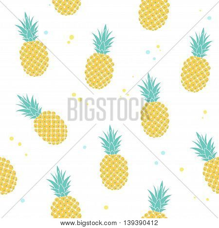 vector seamless pattern with pineapples, simple summer pattern
