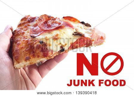Woman hand holding slice pizza isolated on white background no junk food concept