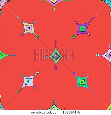 Colorful red seamless pattern with nice rhombs ornaments. Vector eps 10. For prints, designs, textile.
