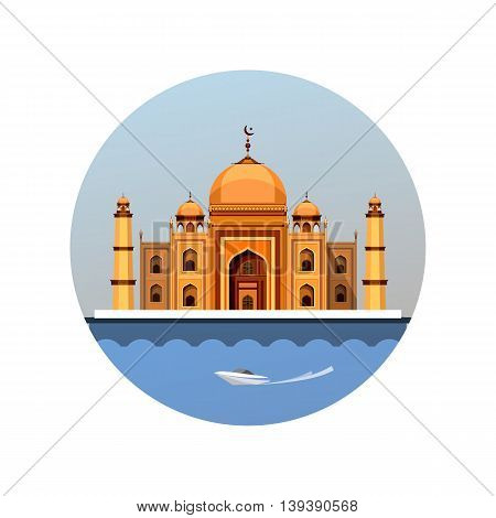 vector illustration round emblem of the Muslim house of worship a mosque