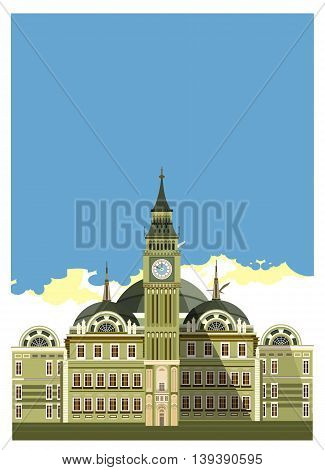 vector illustration of an old castle with towers and beautiful facade