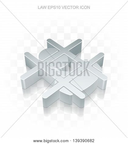 Law icon: Flat metallic 3d Criminal, transparent shadow on light background, EPS 10 vector illustration.