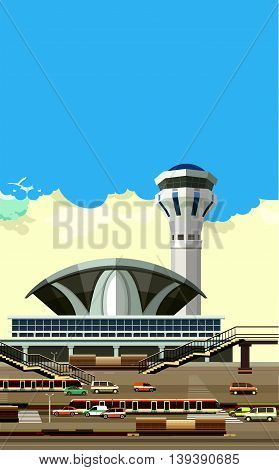 vector illustration of the airport building next to vehicle parking