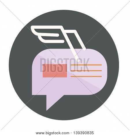 abstract symbol dialogue combined with the image of the envelope with the white wings of the lines, vector flat icons, web element infographics
