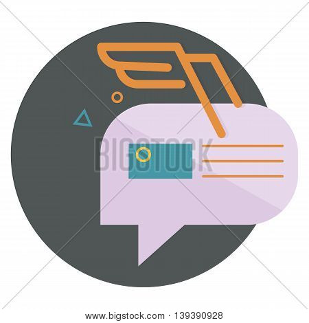 character dialogue combined with the image of the envelope with the orange wings of the lines, with abstractions, vector flat icons, web element infographics