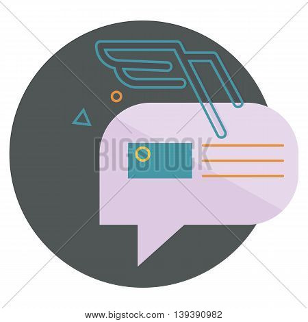 character dialogue combined with the image of the envelope with the blue wings of the lines, with abstractions, vector flat icons, web element infographics