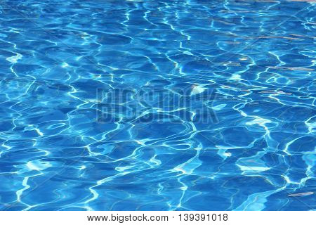 blue water in the pool and near the background