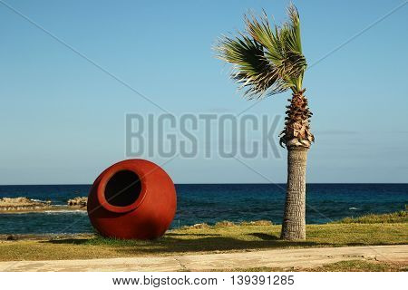 palm trees in the resort near the sea