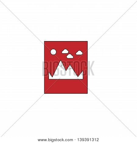Mountain. Red flat simple modern illustration icon with stroke. Collection concept vector pictogram for infographic project and logo