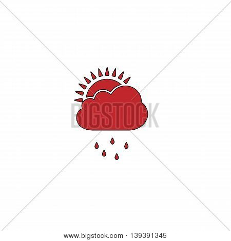 Rainy season. Red flat simple modern illustration icon with stroke. Collection concept vector pictogram for infographic project and logo