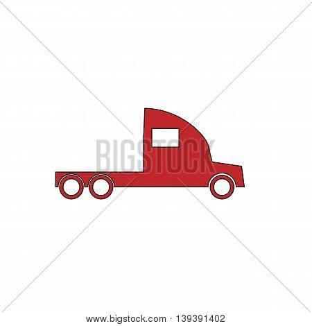 Truck without a trailer. Red flat simple modern illustration icon with stroke. Collection concept vector pictogram for infographic project and logo