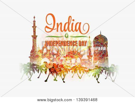 India Independence Day. Colorful background with mandala ornament on traditional indian buildings silhouette.