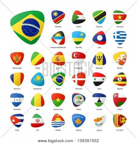Summer sports games, national participants flags. Part 1.