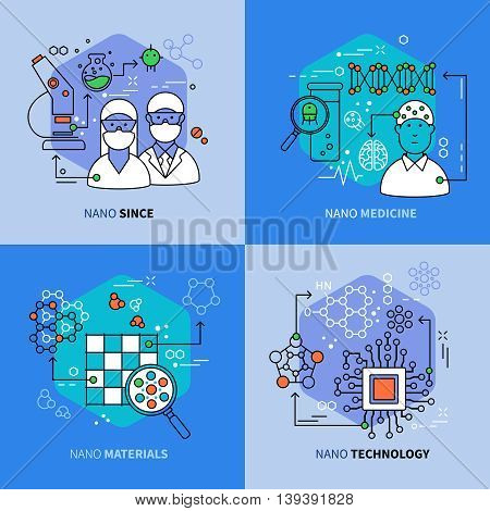 Nanotechnology linear compositions with scientific research and development innovative medicine materials electronics isolated vector illustration