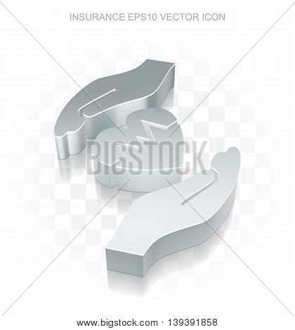 Insurance icon: Flat metallic 3d Heart And Palm, transparent shadow on light background, EPS 10 vector illustration.