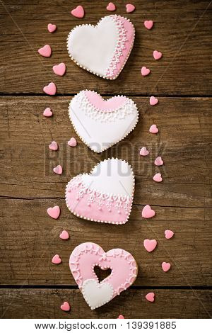 Four Festive Decorated Cookies Hearts