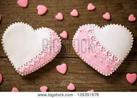 Valentine day cookies shape hearts, holiday concept