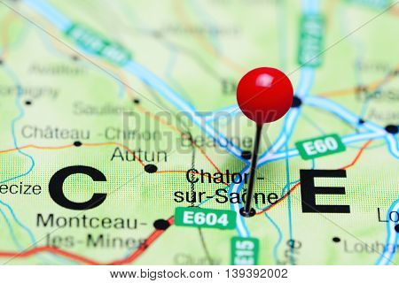 Chalon-sur-Saone pinned on a map of France