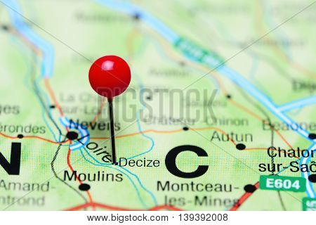 Decize pinned on a map of France