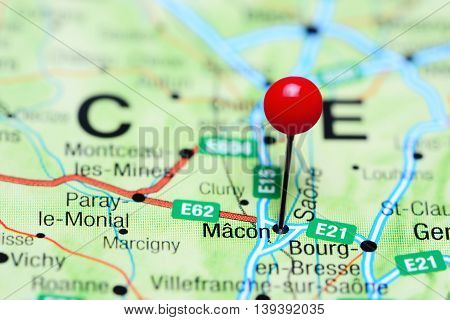 Macon pinned on a map of France