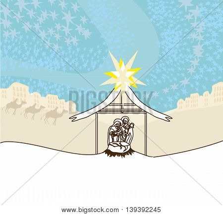 birth of Jesus on desert landscape , vector illustration