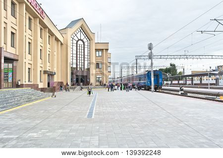 GOMEL REPUBLIC BELARUS - June 19.2016: The city's railway station. Passengers expect to embark on a train
