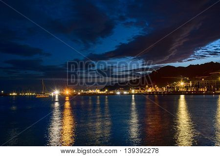 View of the night Port Salerno City