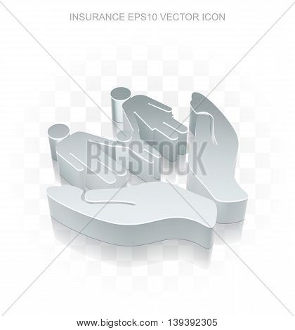 Insurance icon: Flat metallic 3d Family And Palm, transparent shadow on light background, EPS 10 vector illustration.