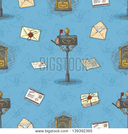 Postal Service. Seamless Vector Pattern with Envelopes, Letters and Retro Mailboxes on a Blue Background