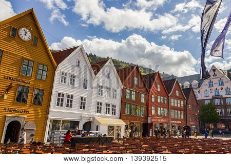 Beautiful view of Bryggen historic buidings in Bergen Norway