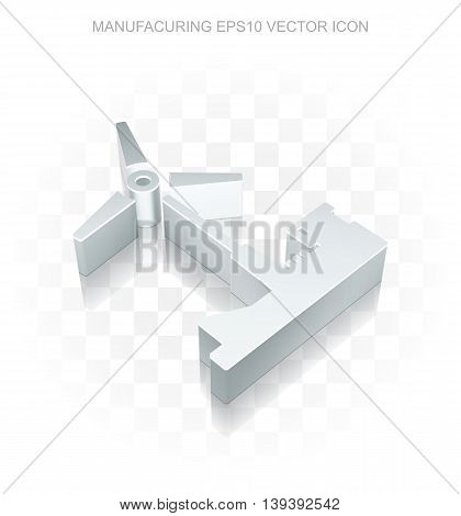 Industry icon: Flat metallic 3d Windmill, transparent shadow on light background, EPS 10 vector illustration.