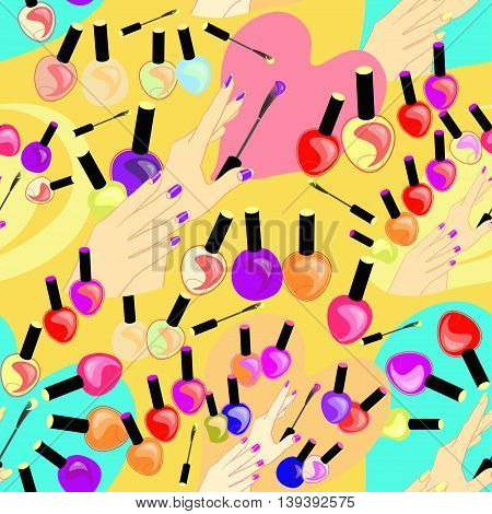 Seamless Pattern Of Care Products And Nail Decoration On Yellow. Vector Illustration