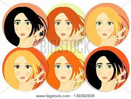 Set Of Girls, Women Icon. Vector Illustration