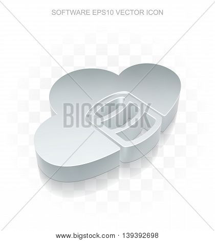Software icon: Flat metallic 3d Database With Cloud, transparent shadow on light background, EPS 10 vector illustration.