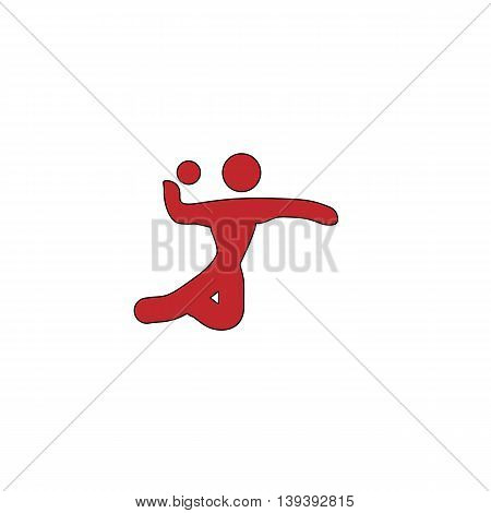 Volleyball player serving the ball. Red flat simple modern illustration icon with stroke. Collection concept vector pictogram for infographic project and logo