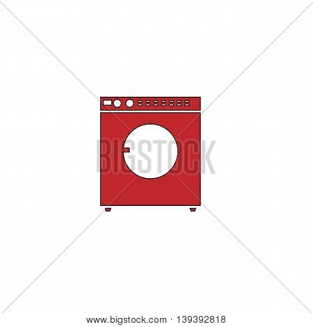 Washing machine. Red flat simple modern illustration icon with stroke. Collection concept vector pictogram for infographic project and logo
